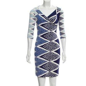 DV Printed Silk  Jersey Cowl Neck Lune Dress